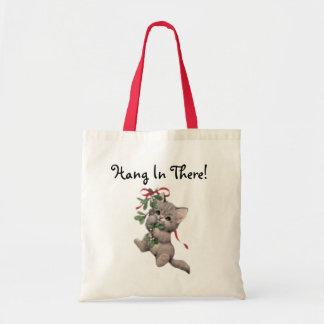 Hang In There Mistletoe Kitten Tote Bag