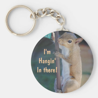 Hang in There Squirrel Key Ring
