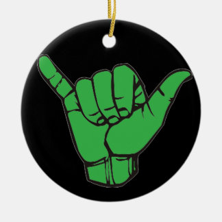 Hang Loose Green Round Ceramic Decoration