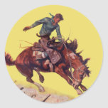 Hang On Cowboy Round Stickers