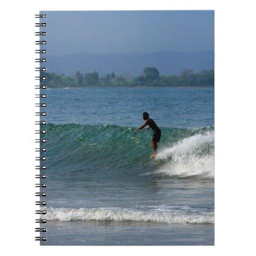 Hang ten surfing tropical coastline spiral notebooks