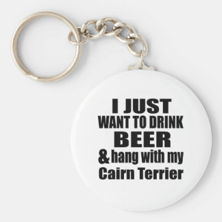 Hang With My Cairn Terrier Basic Round Button Key Ring