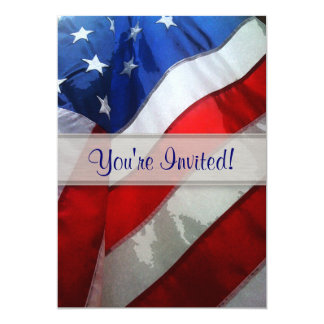 Hanging American Flag Watercolor 5x7 Paper Invitation Card