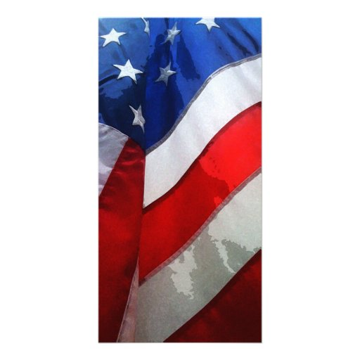 Hanging American Flag Watercolor Photo Card Template