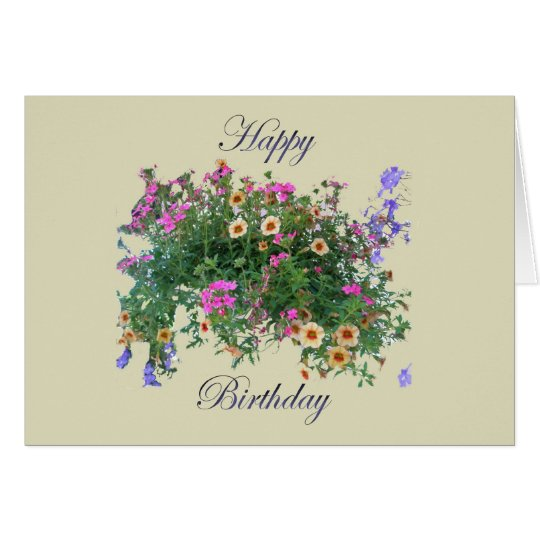 Hanging Basket Happy Birthday Card