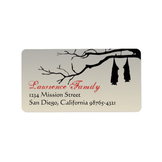 Hanging bats bare branches decay Halloween address Label