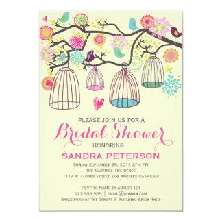 Hanging Bird Cages & Retro Flowers Wedding Sticker Card