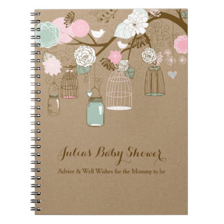 Hanging cages & jars notebook, baby shower advice notebooks