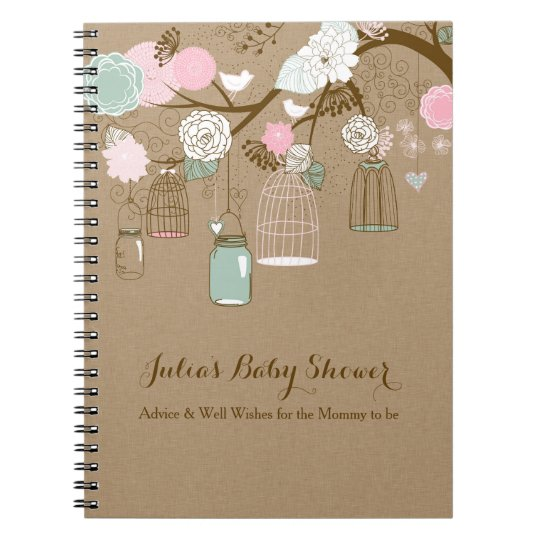 Hanging cages & jars notebook, baby shower advice