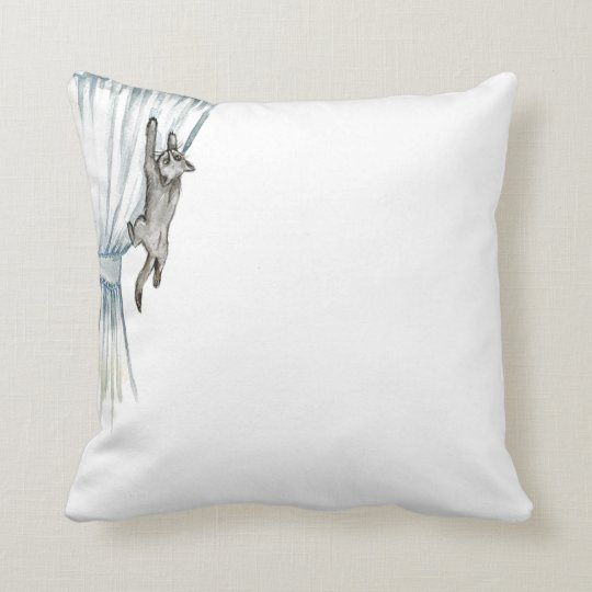 Hanging Cat Throw Pillow