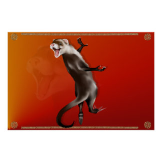 Hanging Ferret Poster