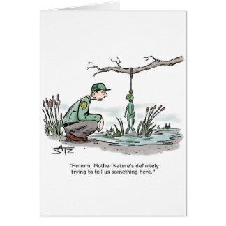 Hanging frog greeting card