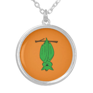 Hanging Green Bat - Halloween Round Pendant Necklace