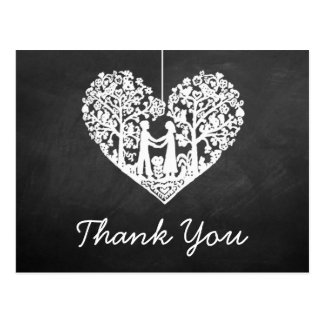 Hanging Heart Tree Chalkboard Wedding Thank You Postcard