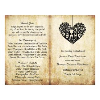 Hanging Heart Tree Vintage Wedding Bi-Fold Program 21.5 Cm X 28 Cm Flyer