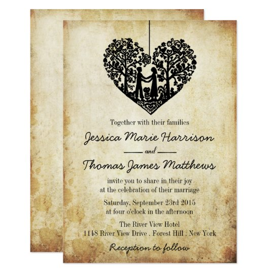Hanging Heart Tree Vintage Wedding Collection Card