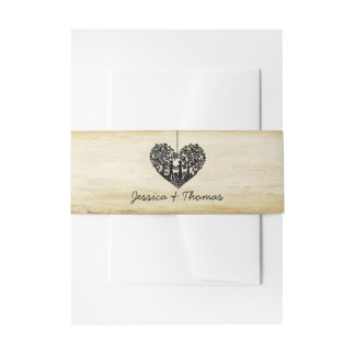 Hanging Heart Tree Vintage Wedding Collection Invitation Belly Band
