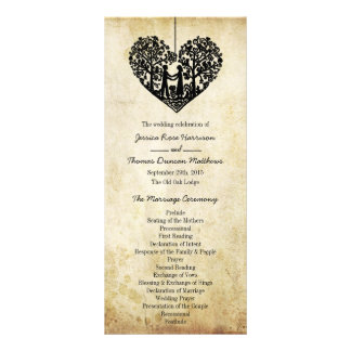 Hanging Heart Tree Vintage Wedding Program Rack Card