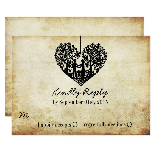 Hanging Heart Tree Vintage Wedding RSVP Card