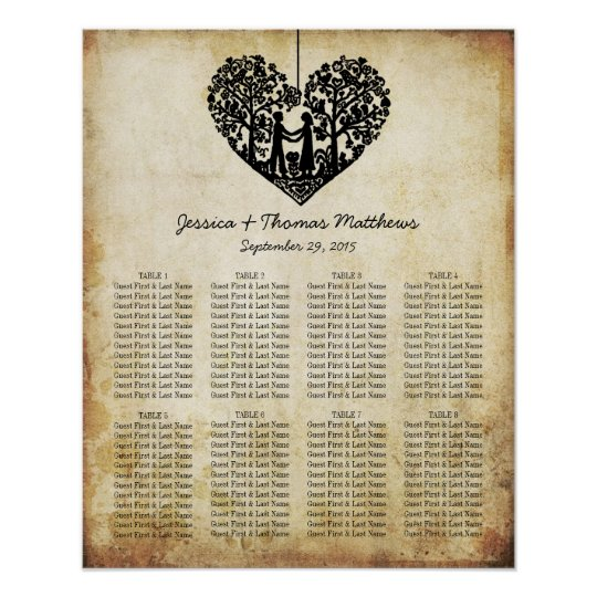 Hanging Heart Tree Vintage Wedding Seating Chart