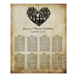 Hanging Heart Tree Vintage Wedding Seating Chart Poster
