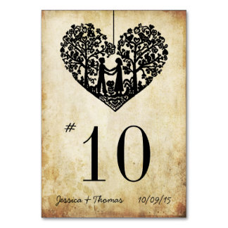 Hanging Heart Tree Vintage Wedding Table Number