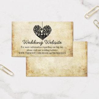 Hanging Heart Tree Vintage Wedding Website Business Card