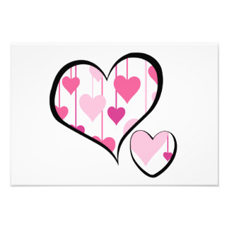 Hanging Hearts - Pink White Black Photo Print