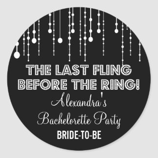 Hanging Lights Bachelorette Party Black Round Sticker