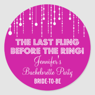 Hanging Lights Bachelorette Party Round Sticker