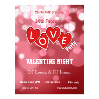 Hanging Love Sticker Hearts Valentines Party Flyer