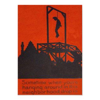 Hanging Man Gallows Black Comedy Humor 13 Cm X 18 Cm Invitation Card