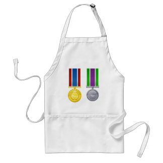 Hanging medals and ribbons aprons