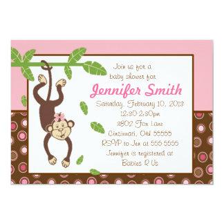 Hanging Monkey Baby Shower Invitation