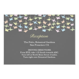 Hanging Origami Cranes (Pewter) Wedding Insert 9 Cm X 13 Cm Invitation Card