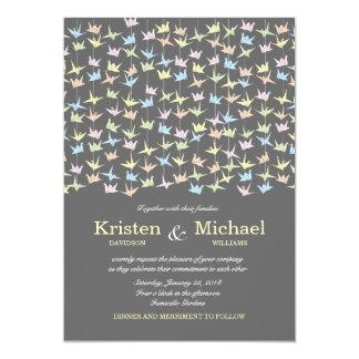 Hanging Origami Paper Cranes (Pewter) Wedding 13 Cm X 18 Cm Invitation Card