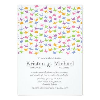 Hanging Origami Paper Cranes Wedding 13 Cm X 18 Cm Invitation Card