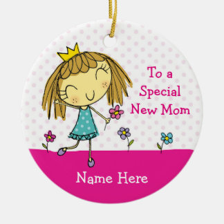 ♥ HANGING ORNAMENT Special New Mom princess pink