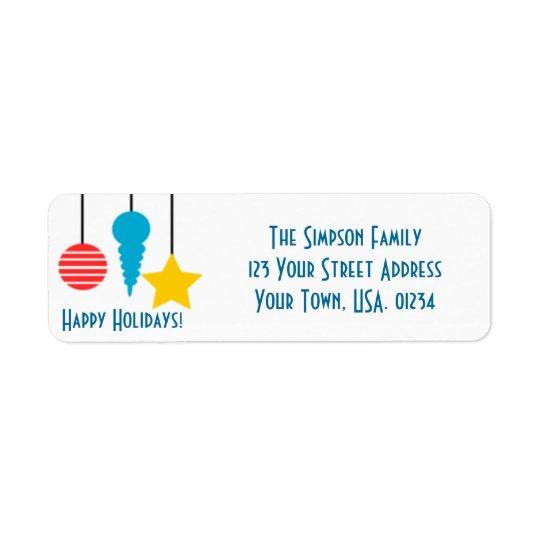 Hanging Ornaments Holidays Return Address Labels