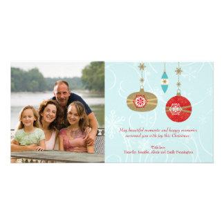 Hanging ornaments snowflakes christmas photocard photo card