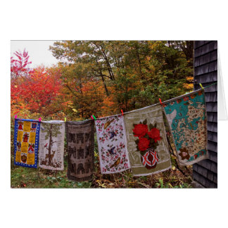 """Hanging Out"" No. 2  Autumn Country Clothesline Card"