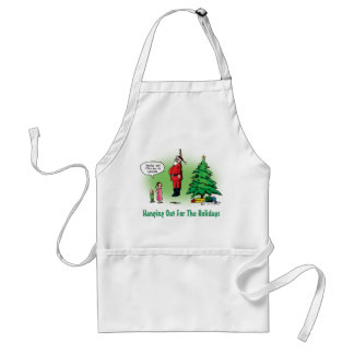 Hanging Out Santa Twisted Cartoon Aprons