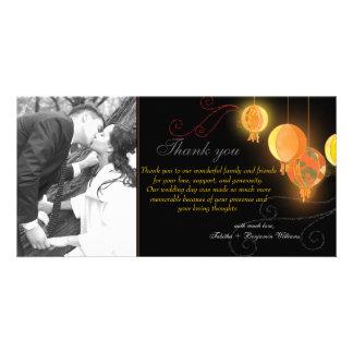 Hanging Paper Lanterns n Swirls Wedding Thank You Personalized Photo Card