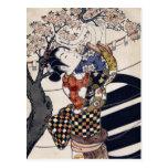 Hanging poems on a cherry tree, Ishikawa Toyonobu Post Card