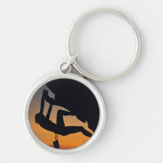 Hanging Rock Climber at Sunrise Silver-Colored Round Key Ring
