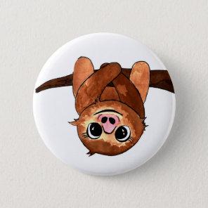 Hanging sloth 6 cm round badge