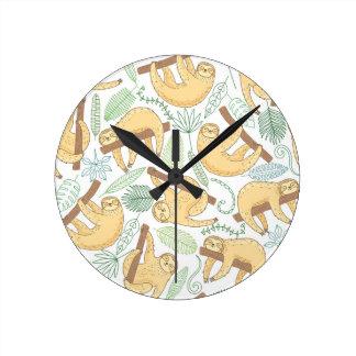 Hanging Sloths Round Clock
