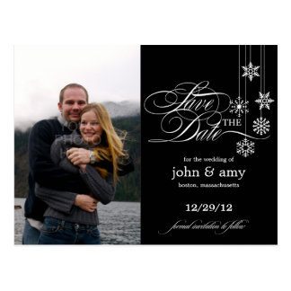 Hanging Snowflakes Photo Save The Date (Black) Postcard