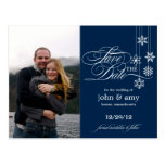 Hanging Snowflakes Photo Save The Date (Navy)