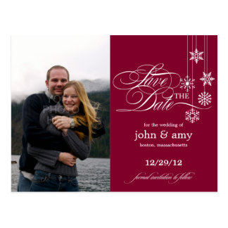 Hanging Snowflakes Photo Save The Date (Red) Postcard